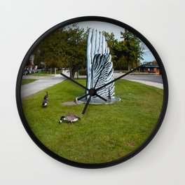 Geese and Wing Sculpture: Life Imitates Art (Chicago North Pond Collection) Wall Clock