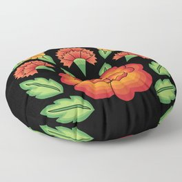 Mexican Folk Pattern – Tehuantepec Huipil flower embroidery Floor Pillow