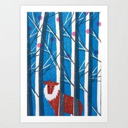 Red Snow Art Print