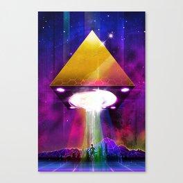 Abduction (Tetra) - Retrowave Synth UFO Illuminati Canvas Print