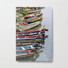 Riverbank Boats Metal Print