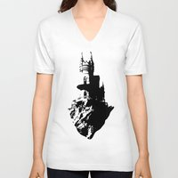 castle V-neck T-shirts featuring Castle by Julia Badeeva