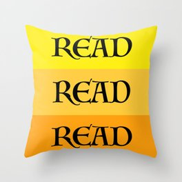 READ READ READ {YELLOW} Throw Pillow