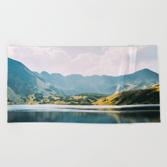 Autumn Mountain Lake Beach Towel