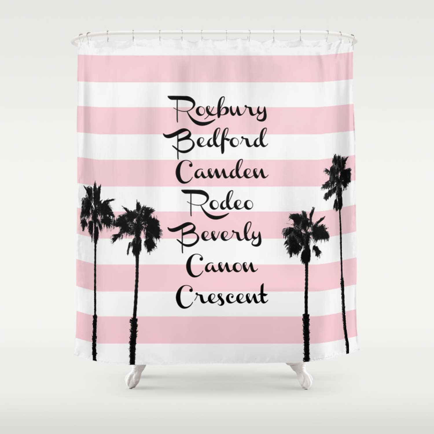 Beverly Hills Street Names Palm Trees Pink Stripes Shower Curtain
