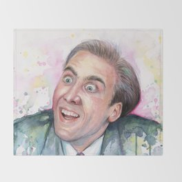 Nicolas Cage You Don't Say Geek Meme Nic Cage Throw Blanket