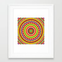 batik Framed Art Prints featuring Batik Bullseye by Peter Gross