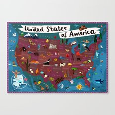 Map of USA Canvas Print