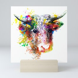 Hand drawn bull, cow, bison, buffalo head face portrait with horns. Colorful cattle painting sketch Mini Art Print