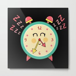 Sleepy clock Metal Print