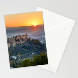 Red sunset at The Alhambra Palace Stationery Cards