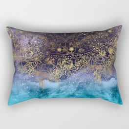 Gold floral mandala and confetti image Rectangular Pillow