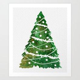 A vibrant green Christmas tree for a Christmas card. Art Print