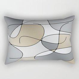 ABSTRACT CURVES #1 (Grays & Beiges) Rectangular Pillow