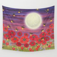 fireflies Wall Tapestries featuring purple sky, fireflies, snails, and poppies by Sarah Knight