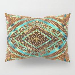 Tribal  Ethnic Boho Pattern burnt orange and gold Pillow Sham