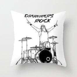 Drummers Rock Throw Pillow