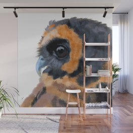 Brown Wood Owl (on white) Wall Mural