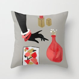 Treasures in Red Throw Pillow