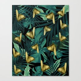 Tropical Butterfly Jungle Night Leaves Pattern #6 #tropical #decor #art #society6 Canvas Print