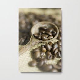 Old coffee beans spoon Metal Print