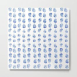 Indigo Blossom - nature watercolour pattern Metal Print