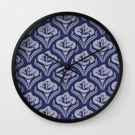 Calla Lily Pattern Blue and Gray Wall Clock
