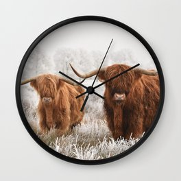 Hairy Scottish highlanders in a natural winter landscape. Wall Clock