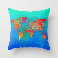 map of the world Throw Pillows featuring World Map by Roger Wedegis