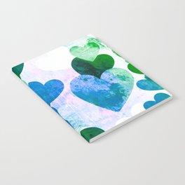 Fab Green & Blue Grungy Hearts Design Notebook