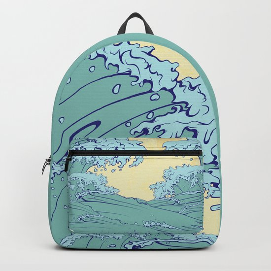 Waves in Japanese style Backpack