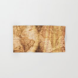 Antique World Map on Wood Hand & Bath Towel
