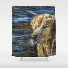 One Wet Golden Retriever by Teresa Thompson Shower Curtain