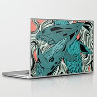 whales Laptop & iPad Skins featuring Whales by melcsee