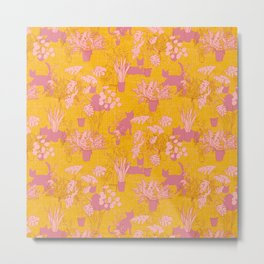 Cats and Houseplants: Yellow and Pink Metal Print