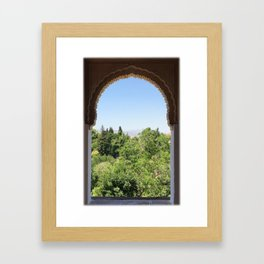 Beautiful carved ancient window of Alhambra, Spain Framed Art Print