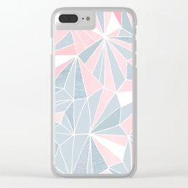 Cool blue/grey and pink geometric prism pattern Clear iPhone Case
