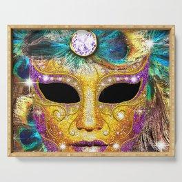 Golden Carnival Mask Serving Tray
