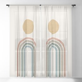 Mid-Century Modern Rainbow Sheer Curtain