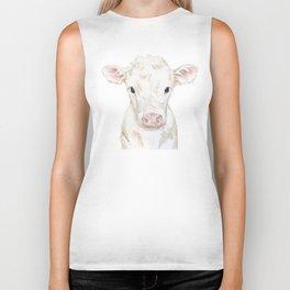 Baby White Cow Calf Watercolor Farm Animal Biker Tank
