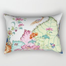 Damask antique floral porcelain china chinoiserie plate of flowers and crane bird vintage photo Rectangular Pillow