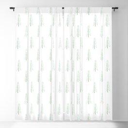 Minimalist Pines - White Blackout Curtain