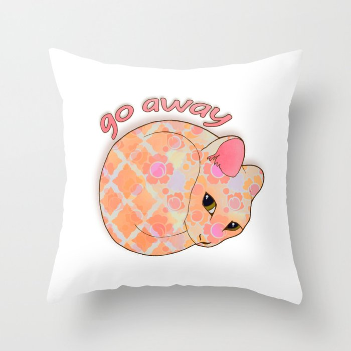Go Away - Patterned Cat Illustration  Throw Pillow