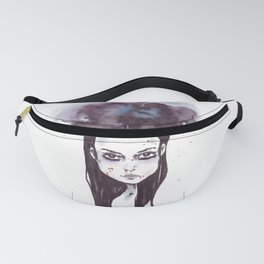 Watercolors Wednesday - Dark thoughts & messy hair Fanny Pack