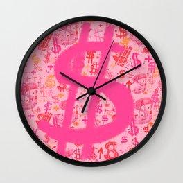 Pink Dollar Signs Wall Clock