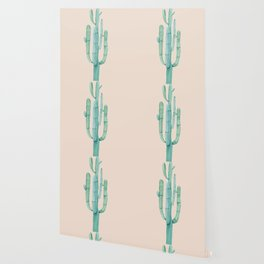 Solo Cactus Mint on Coral Pink Wallpaper
