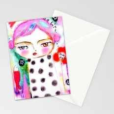 Dream a bit...every day! pink hair girl fish flowers Stationery Cards