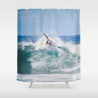 surfer Shower Curtains featuring Surfer by Carmen Moreno Photography