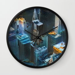 Dreams of Cyber Cities Wall Clock