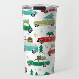 Christmas holiday vintage cars classic festive christmas tree snowflakes winter season Travel Mug